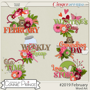 #2019 February - Word Art Pack by Connie Prince