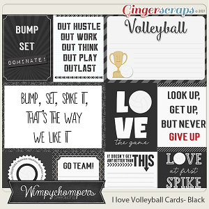 I Love Volleyball Cards- Black