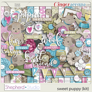 Sweet Puppy Digital Scrapbooking Kit by Shepherd Studio
