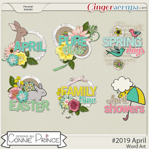 #2019 April - Word Art Pack by Connie Prince
