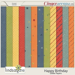 Happy Birthday Glitter Papers by Lindsay Jane