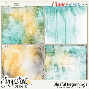 Blissful Beginnings {Watercolor Art Papers} by Jumpstart Designs