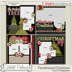 Farmhouse Christmas - 12x12 Templates (CU Ok) by Connie Prince