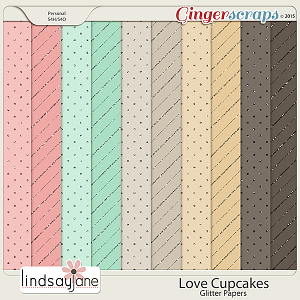 Love Cupcakes Glitter Papers by Lindsay Jane