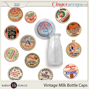 Vintage Milk Bottle Caps by Karen Schulz