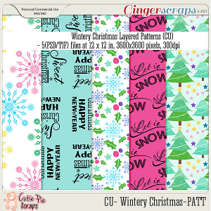 Wintery Christmas Pattern Papers Layered Templates (CU)