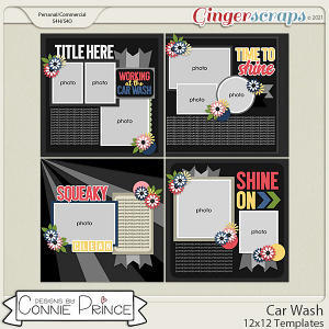 Car Wash  - 12x12 Templates (CU Ok) by Connie Prince