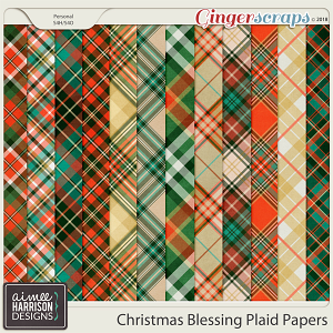 Christmas Blessing Plaid Papers by Aimee Harrison