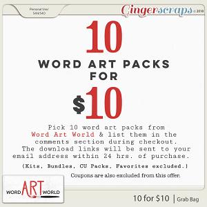 Pick 10 Word Art Packs for $10