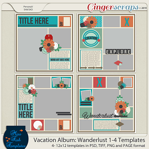 Vacation Album: Wanderlust 1-4 Templates by Miss Fish