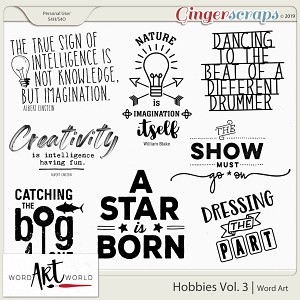 Hobbies Vol. 3 Word Art
