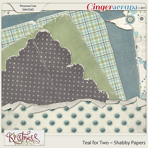 Teal for Two Shabby Papers
