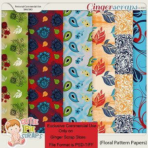 CU-Floral Pattern Papers -Layered Templates By Cutie Pie Scraps