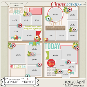 #2020 April - 12x12 Template Pack (CU Ok) by Connie Prince