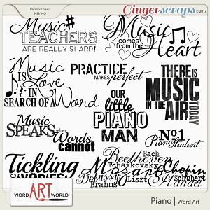 Piano Word Art
