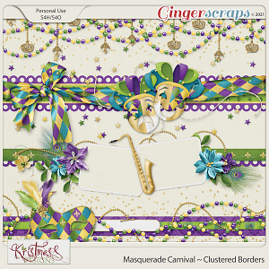 Masquerade Carnival Clustered Borders