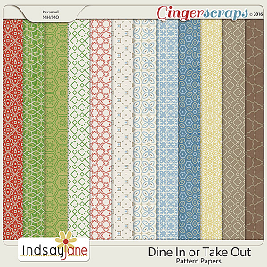 Dine In or Take Out Pattern Papers by Lindsay Jane