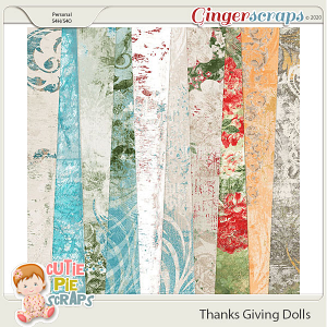 Thanksgiving Dolls Shabby Chic Papers