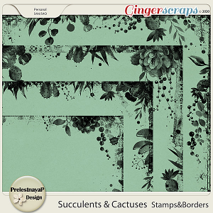 Succulents and Cactuses Stamps & Borders