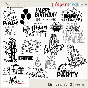 Birthdays Vol. 2 Word Art