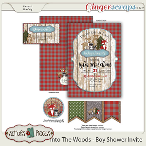 Into The Woods Boy Baby Shower Invitation by Scraps N Pieces