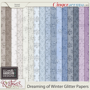 Dreaming of Winter Glitter Papers by Aimee Harrison and Kristmess Designs