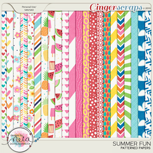 Summer Fun - Patterned Papers - by Neia Scraps