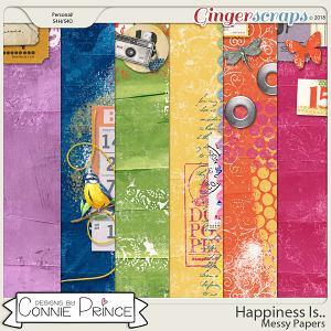 Happiness Is.. - Messy Papers by Connie Prince