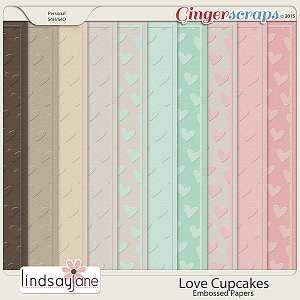 Love Cupcakes Embossed Papers by Lindsay Jane