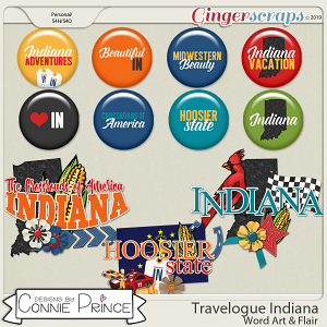 Travelogue Indiana - Word Art & Flair Pack by Connie Prince