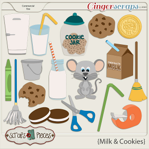 Milk and Cookies CU Embellishment Layered Templates - Scraps N Pieces