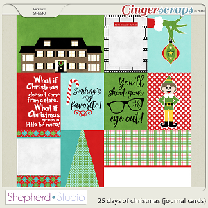 25 Days of Christmas Journal Cards for Pocket Scrapbooking by Shepherd Studio