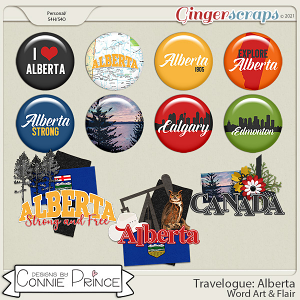 Travelogue Alberta Canada - Word Art & Flair Pack by Connie Prince