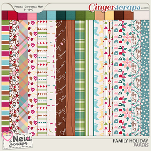 Family Holiday - Patterned Papers - By Neia Scraps