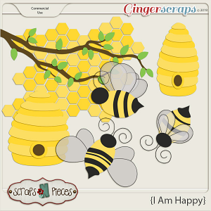 I Am Happy Bees CU Layered Templates - Scraps N Pieces