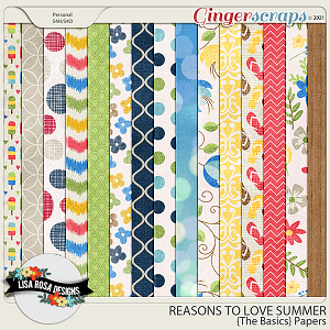Reasons to Love Summer - The Basics Papers by Lisa Rosa Designs