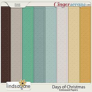 Days of Christmas Embossed Papers by Lindsay Jane
