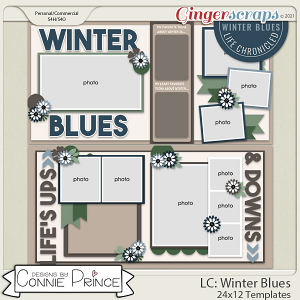 Life Chronicled: Winter Blues -  24x12 or 12x12 Templates (CU Ok) by Connie Prince