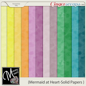 Mermaid At Heart - Solid Papers by Memory Mosaic