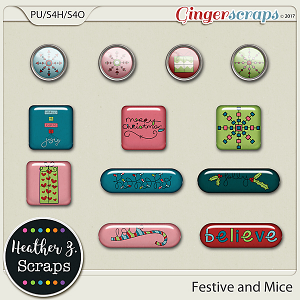 Festive and Mice FLAIRS by Heather Z Scraps
