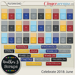 Celebrate 2018: June WORD BITS & DATES by Heather Z Scraps