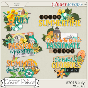 #2018 July - Word Art Pack by Connie Prince