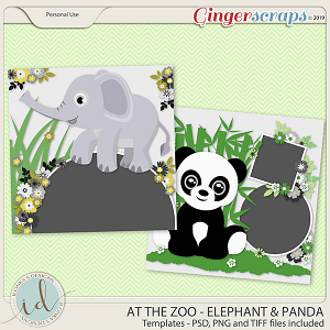 At The Zoo Elephant & Panda Templates by Ilonka's Designs