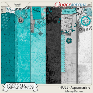 {HUES} Aquamarine - Messy Paper Pack