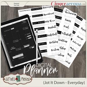 Jot It Down Everyday Planner Pieces - Scraps N Pieces