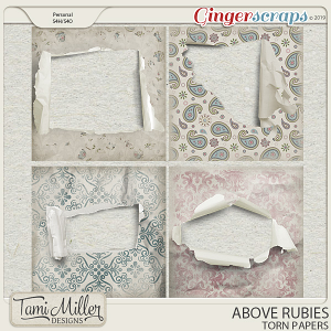 Above Rubies Torn Papers by Tami Miller Designs