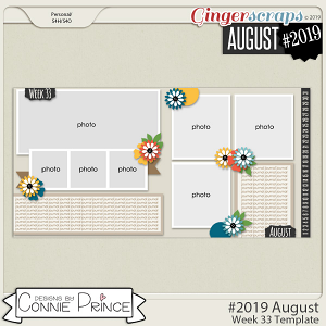 #2019 August - Week 33 Template Pack (CU Ok) by Connie Prince