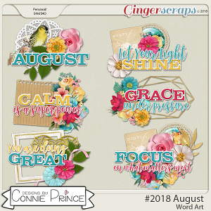 #2018 August - Word Art Pack by Connie Prince