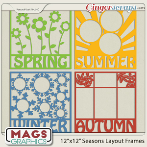 12x12 Seasonal Layout Frame Templates by MagsGraphics