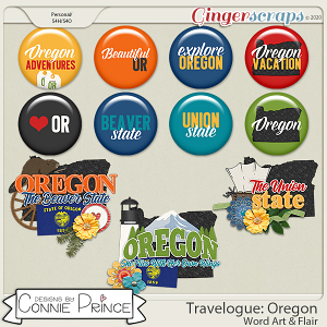 Travelogue Oregon - Word Art & Flair Pack by Connie Prince
